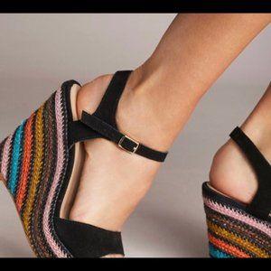 Anthropologie Striped Platform Wedge Sandals
